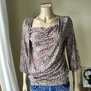 YEST Draped Jersey 3/4-sleeve Gathered Top, Small